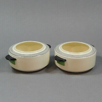 Pair Royal Doulton Art Deco Casino Bowls Tureens in Radiance Vintage Pottery