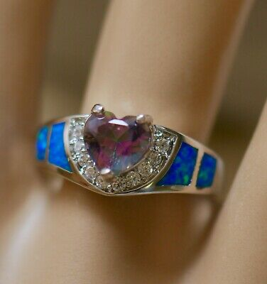 Vintage Jewellery Ring Mystic Topaz Opal White Sapphires Antique Jewelry size P