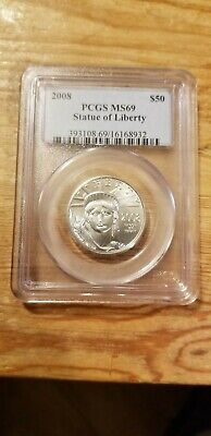 2008 STATUE OF LIBERTY AMERICAN EAGLE PROOF PLATINUM PCGS MS69 $50 1/2 oz RARE