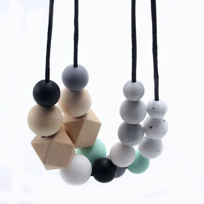 Natural Hexagon Wooden Beads Teether Teething Necklace Silicone Beads Baby Toys