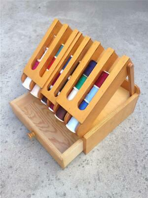 Vintage Wooden Sewing Box with Drawer & Fold Up Spool Holding Lid