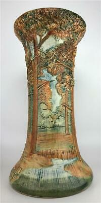 Vintage WELLER POTTERY Forest Woodcraft Tree Scenic Jardiniere Pedestal Base