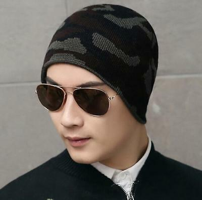 Double layer Unisex Knitted Winter Warm Camo Hat knit Cap Beanie Hat Wool cap