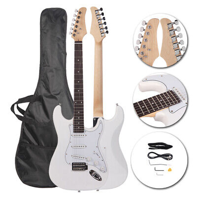 6 Strings Right-Handed Electric Guitar +Strap+Cord+Gigbag+Accessories White