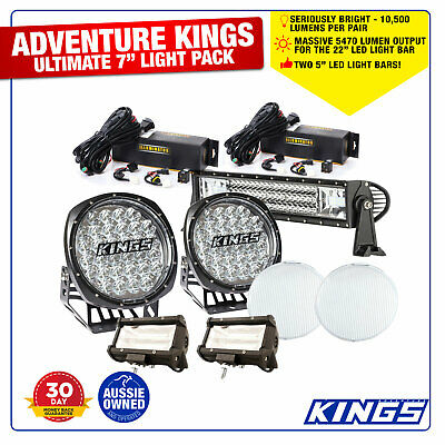 "Pair 6"" LED Light Bars With Driving Light 7"" Adventure Kings Camping Vehicle"
