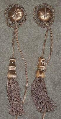 Antique Curtain Tie Backs, Cloth Buttons And Tassels