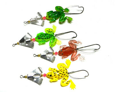 4pcs/Lot Soft Rubber Frog Bait fishing Lure Spinner Spoon Lures Bass Crank Bait