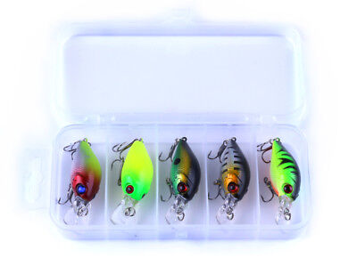 5Pcs/Lot Fishing Lures Kinds Of Minnow Fish Bass Tackle Hooks Baits Crankbait RF