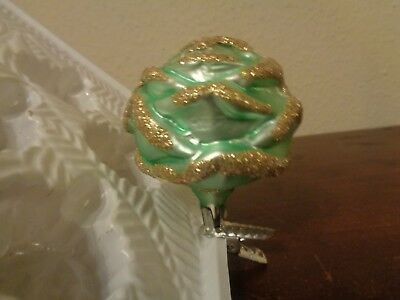Vintage Blown Glass Rose Flower Figural Clip On Christmas Ornament Green Gold