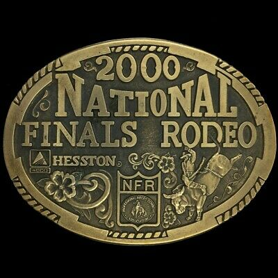 Vtg NOS National Finals Association Nfr Hesston Bull Rider Brass Belt Buckle