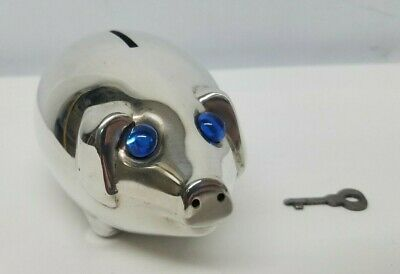 Silverplated Silver Plate Pig Coin Piggy Bank w/ Blue Jewel Eyes Made in Denmark