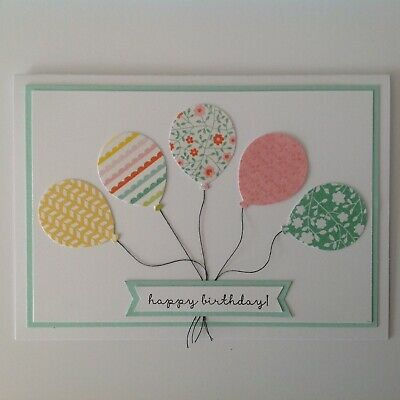 Handmade Birthday card: Patchwork balloons with mint.