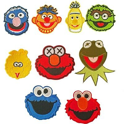 Sesame Street Iron on Patch Cookie Monster Elmo Grouch Ernie Kermit Bert patches