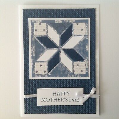 Handmade Mother's Day card: Quilt in navy blue.