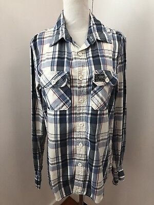 Superdry Men's Ontario Red White Blue Milled Flannel LS Button Down Shirt Large