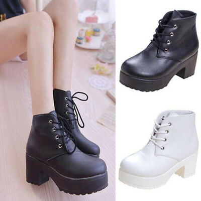 Goth Womens Punk Platform Ankle Boots Chunky High Heel Lace Up Punk Shoes Gift