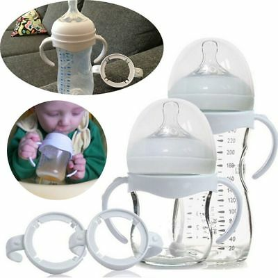 2Pcs White Baby Bottle Infant Grip Handle Avent Natural Wide Mouth Feeding Safe~