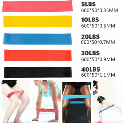 5Pcs Heavy Duty Resistance Band Loop Power Gym Fitness Exercise Yoga Workout