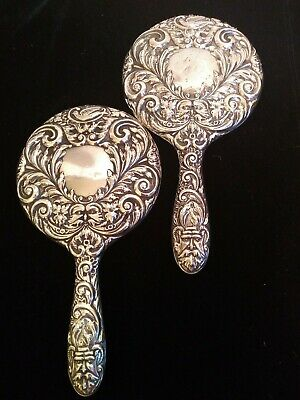 2 similar vintage solid silver hand mirrors, 1956. B&Co