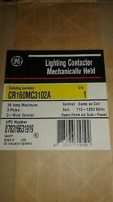 GENERAL ELECTRIC CR160MC3102A LIGHTING CONTACTOR MECHANICALLY HELD Sealed in Fac