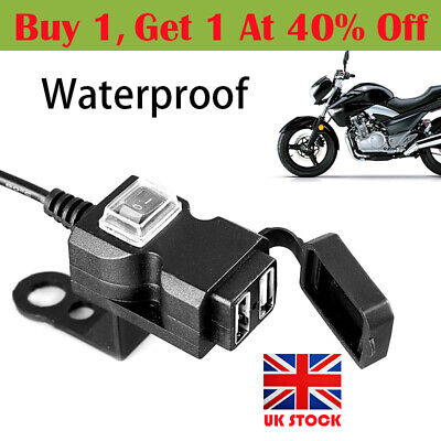 12V Waterproof Motorbike Motorcycle Dual USB Charger Power Socket For Phone GPS