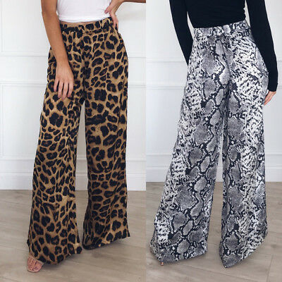 Fashion Women High Waist Leopard Print Trousers Long Pant Loose Wide Leg Pants