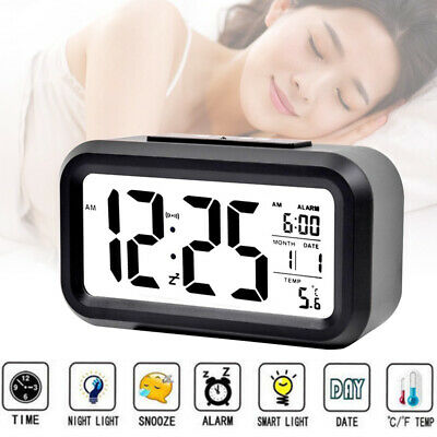 Digital LCD Snooze Electronic Alarm Clock with LED Backlight Light Control Black