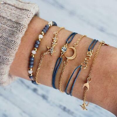 Fashion Women Jewelry Set Rope Natural Stone Crystal Chain Alloy Bracelets 6PC