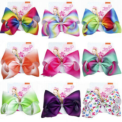 8 Inch JOJO SIWA Large Hair Bow Diamond Gradient Color Rainbow Bow-knot Hairpin