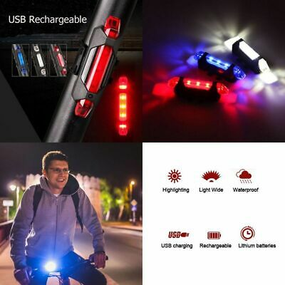 5 LED USB Rechargeable Bike Tail Lights Bicycle Safety Cycling Warning Rear Lamp