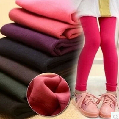 Children Girls Winter Warm Fleece Lined Thick Leggings Thermal Pants Trousers AU