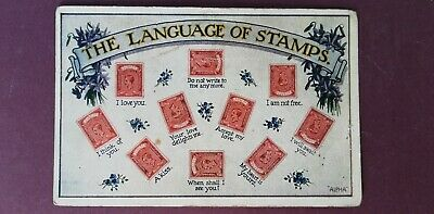 Vintage postcard the language of stamps