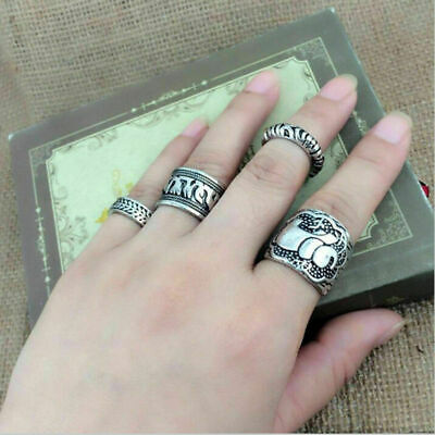 Women Lady Bohemian Retro Carved Silver Elephant Totem Leaf Lucky Ring Band Set