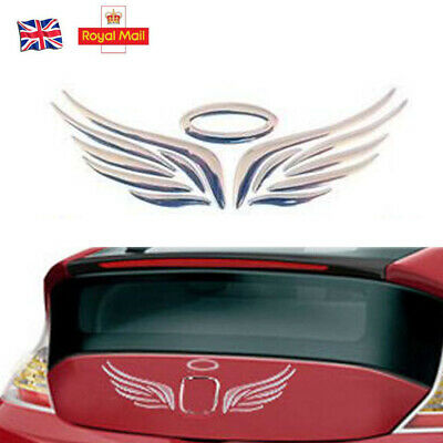 1Pcs SUV Body 3D Silver Guardian Angel Wings Emblem Graphics Decal Sticker New