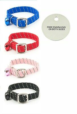 Ancol Reflective Softweave Safety Cat Collar With Optional Engraved Tag cat Bell