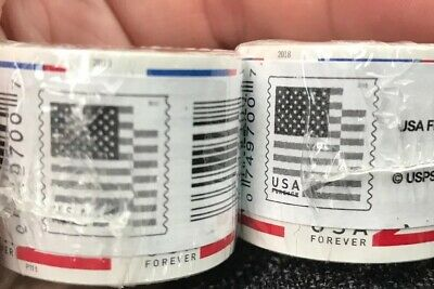 200 (2 Rolls of 100) USPS FOREVER STAMPS US FLAG COIL - FREE SHIPPING