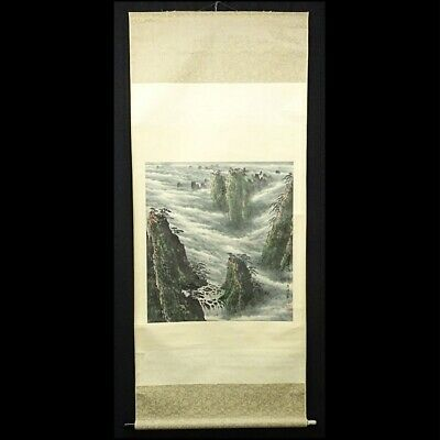 CHINESE PAINTING HANGING SCROLL CHINA LANDSCAPE PICTURE VINTAGE ANTIQUE 058n