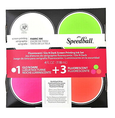 Speedball Glo 'n Dark and Fluorescent Screen Printing Inks, 4 Ounces, Set of 4
