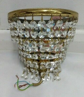 Vintage Retro c70s 80s Facet Cut Crystal Bronze Waterfall Mirror Sconce 9/6/V