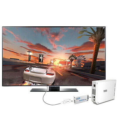 3.5mm Audio Output Jack Wii to HDMI Wii2HDMI Full HD FHD 1080P Converter White