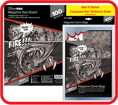100x Ultra Pro MAGAZINE Size Comic Bags Sleeves +100x White Backing Boards