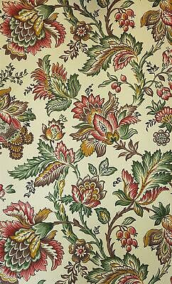 Fardis Floral Trail Wallpaper Flowers Berries Cream Red Green Yellow Paste Wall