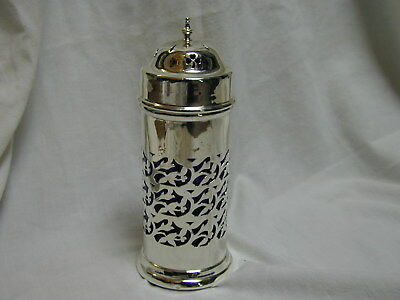 Antique blue glass lined sterling silver sugar sifter 1914 Henry Williamson Ltd
