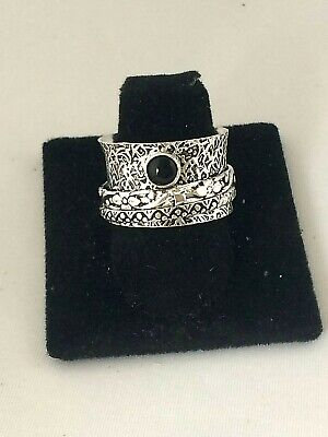 .925 Sterling Silver Plated Wide Cigar Band Black Onyx Spinner Ring Q09 Size 8.5