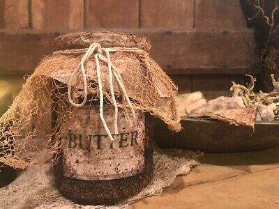 Primitive Pantry Jar Grubby BUTTER Cupboard Tuck Early Look Homestead