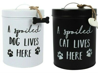 Cat Or Dog Biscuit Treat Tin Storage Jar Great Gift For Animal Lover