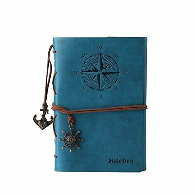 Leather Journal Notebook, MALEDEN Refillable Spiral Daily Notepad Classic Emboss