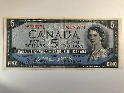 Bank of Canada 1954 DEVILS FACE NOTE $5  BC-31b Beattie Coyne