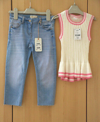 .Next Girls Denim Straight Leg Ankle Length Jeans & Knitted Top Age 6 Years BNWT