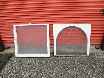 Vintage Antique Privacy Glass Frosted  Window Top And Bottom Sash